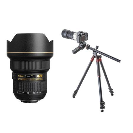 Nikon 14-24mm f/2.8G ED-IF AF-S NIKKOR Lens USA W/3Pod 3 Section Aluminum Tripod