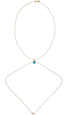 Jacquemus - Gold & Blue 'La perle bleue' Body Chain Necklace