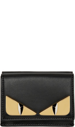 Fendi - Black Micro 'Bag Bugs' Trifold Wallet