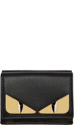 Fendi - Black Micro 'Bag Bugs' Trifold Wallet