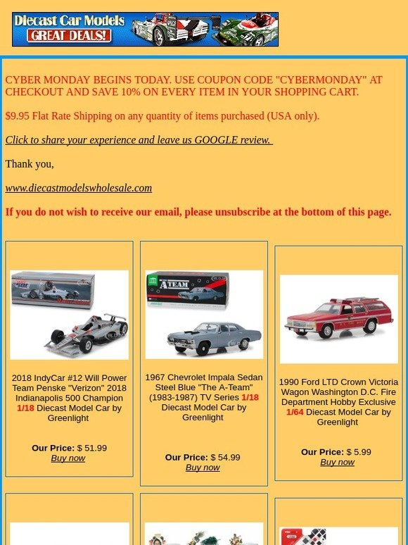 www diecastmodelswholesale com: Cyber Monday Coupon & New Arrivals