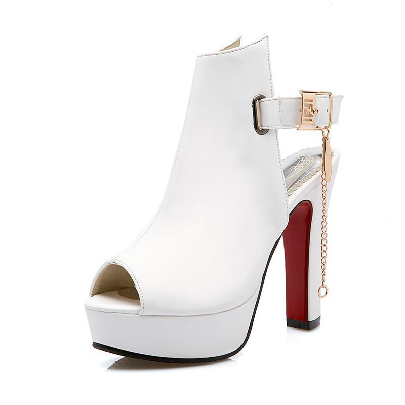 b8c949767191 Peep toe slingback women sandals thick high heels buckle high heels platform  fashion sandals ladies female shoes