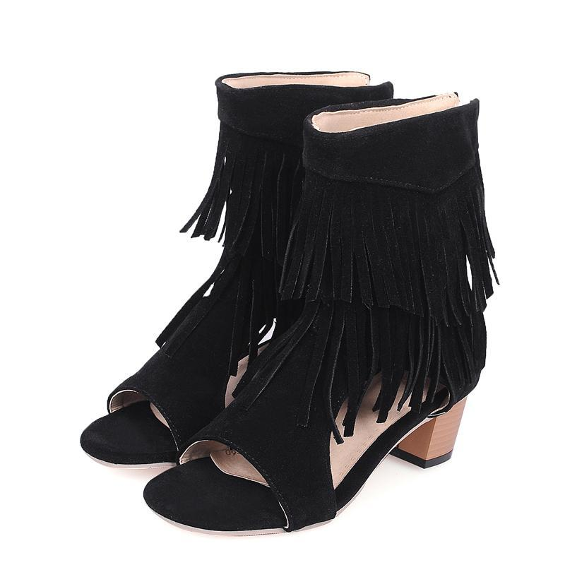 4484711f1b30 Fashion Woman Sandals Fringe Tassels Open Toe Gladiator Summer Boots Chunky High  Heel Zip Up