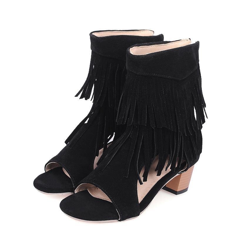 4484711f1b30 Fashion Woman Sandals Fringe Tassels Open Toe Gladiator Summer Boots Chunky High  Heel Zip Up