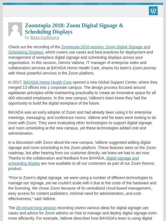 Zoom Video: [New post] Zoomtopia 2018: Zoom Digital Signage