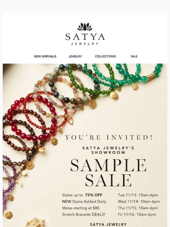 Satya Jewelry: Don't miss our Sample Sale! Up to 75% off