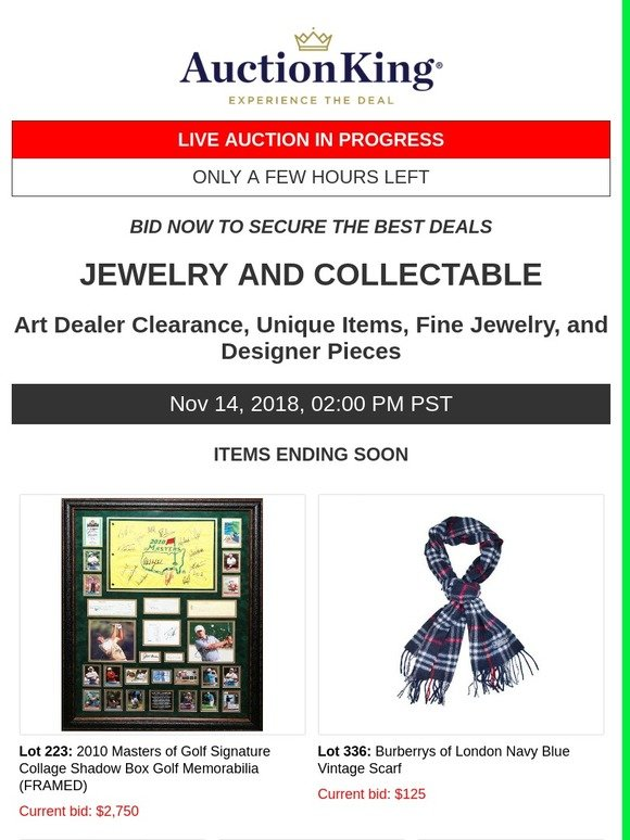 Auction King: JEWELRY AND COLLECTABLE – LIVE AUCTION IN