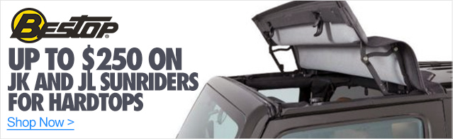 Save up to $250 on the JK and JL Sunrider for Hardtops