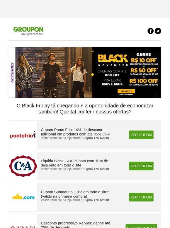 8be2b7183 Groupon BR New  Cupons de desconto com até 80% OFF na Black Week em Netshoes