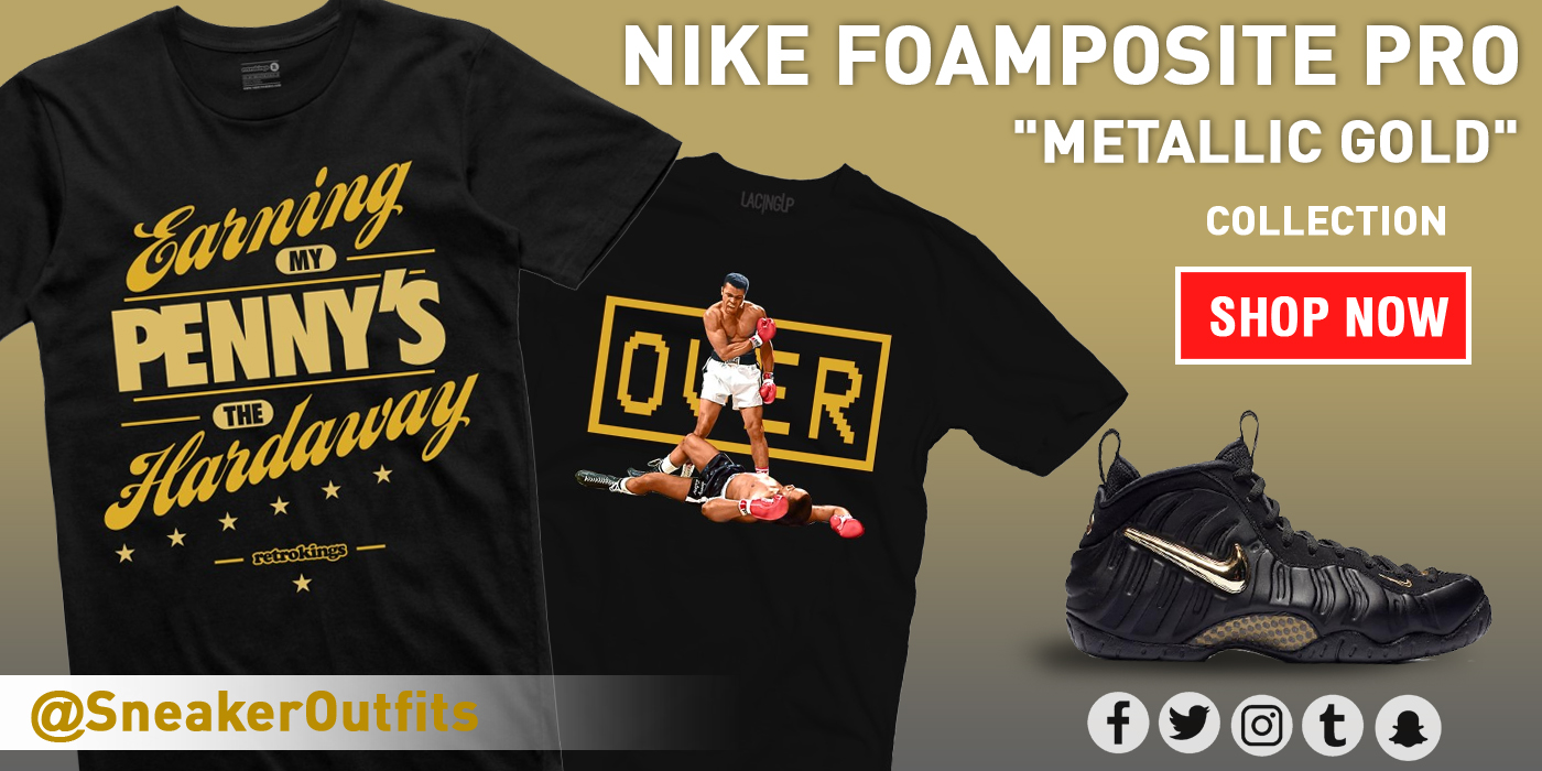 f2252edcc868ea nike foamposite pro black gold shirt 4 Source · SneakerOutfits NIKE  FOAMPOSITE PRO METALLIC GOLD COLLECTION Milled