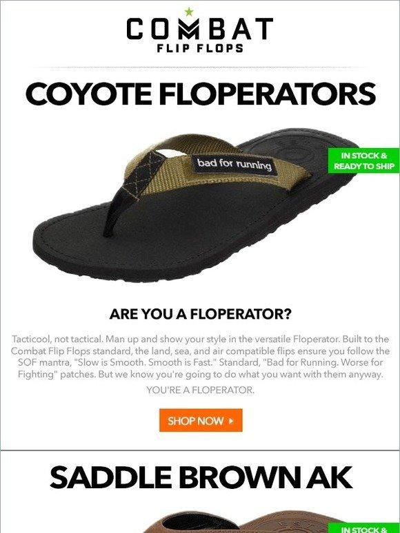 375b347adc6561 Combat Flip Flops  IN STOCK NOW - Coyote Floperators
