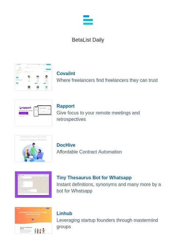 Betalist: Covailnt, Rapport, DocHive, Tiny Thesaurus Bot for