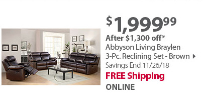 Abbyson Living Braylen 3-Pc. Reclining Set - Brown