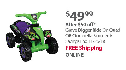 Grave Digger Ride On Quad OR Cinderella Scooter