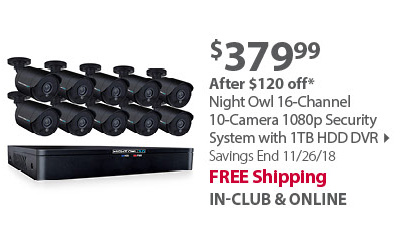 Night Owl 16-Channel 10-Camera 1080p Smart Security System with 1TB HDD DVR