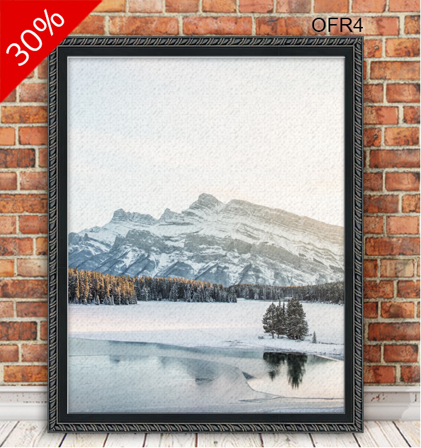 Photo of a winter landscape printed on canvas and framed in antiqued black rope canvas floater OFR4.