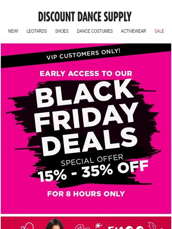 Discount Dance: 8-HOUR Early Access: Black Friday Sale  Up