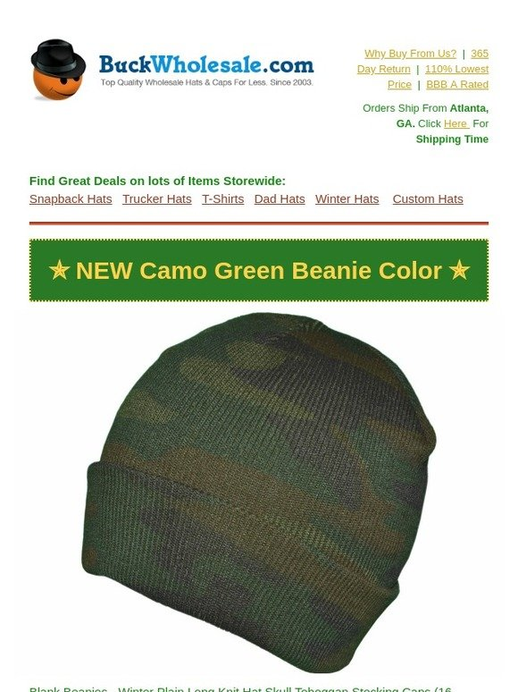 1ce0e2daff2 BuckWholesale.com  ✏  NEW  Green Camo Winter Beanie
