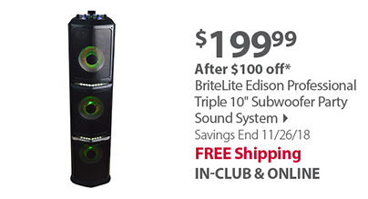 BriteLite Edison Professional Triple 10 Subwoofer Party Sound System