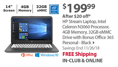 HP Stream Laptop, Intel Celeron N3060 Processor, 4GB Memory, 32GB eMMC Drive with Bonus Office 365 Personal - Black
