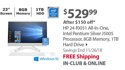 HP 24-f0051 All-In-One, Intel Pentium Silver J5005 Processor, 8GB Memory, 1TB Hard Drive
