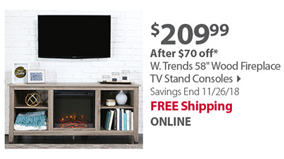 W. Trends 58 Wood Fireplace TV Stand Consoles
