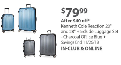 Kenneth Cole Reaction 20 and 28 Hardside Luggage Set - Charcoal OR Ice Blue