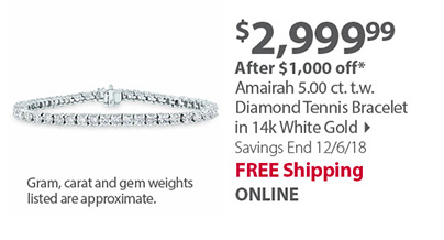 297fcb214fd92b Amairah 5.00 ct. t.w. Diamond Tennis Bracelet in 14k White Gold, 2.00 ...
