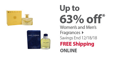 Save up to 63% off Women's and Men's Fragrances