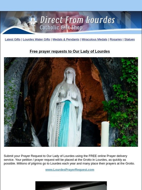 catholic gift shop ltd: FREE Prayer Requests to Our Lady of Lourdes | Milled
