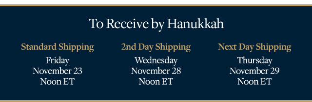 TO RECEIVE BY HANUKKAH…