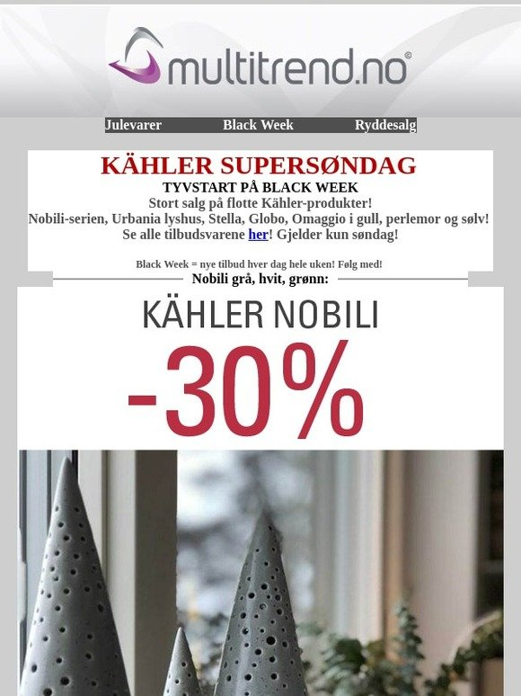 Unike happytoys.no: Tyvstart på Black Week, utrolige Kähler-tilbud idag YT-13