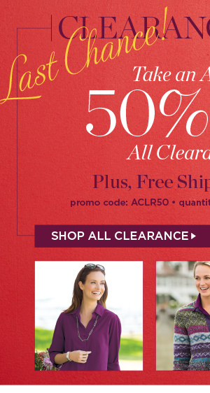 Take an additional 50% off all clearance styles plus free shipping on orders of $75 or more. Promo code ACLR50. Shop All Clearance