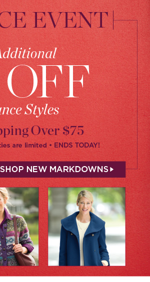 Take an additional 50% off all clearance styles plus free shipping on orders of $75 or more. Promo code ACLR50. Shop New Markdowns
