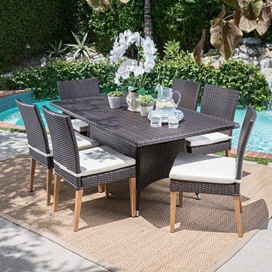 Santa Monica Outdoor 7 Piece Multi-brown Wicker Dining Set