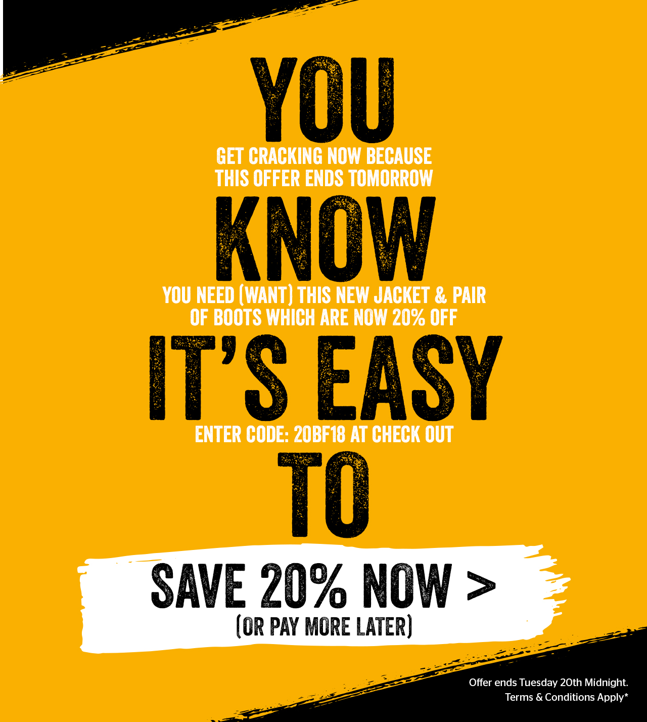 Extra 20% off Clothing and Footwear