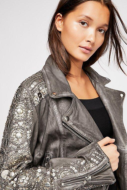 Circle Embellished Moto Jacket