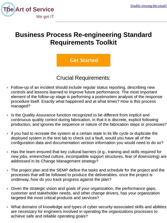 The Art of Service: Business Process Re-engineering Standard