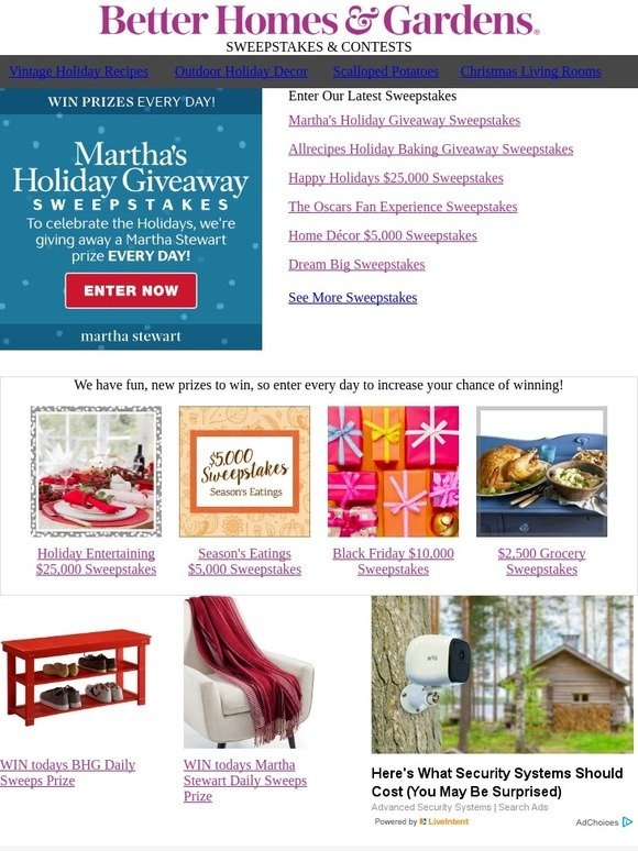Better Homes and Gardens: Enter daily to WIN a Martha