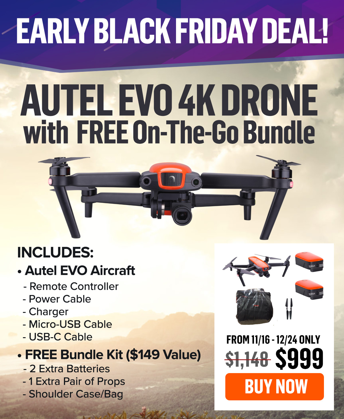Drone Nerds Early Black Friday Deal Autel Evo 4k Drone W Free On The Go Bundle Milled