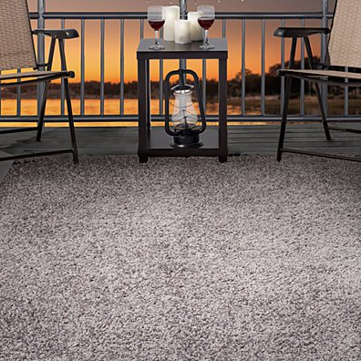 Lavish Home Outdoor/Indoor Shag Rug - Platinum - 8'x10'