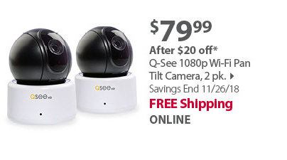 Q-See 1080p Wi-Fi Pan Tilt Camera, 2 pk.