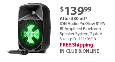 ION Audio ProGlow 8 PA Bi-Amplified Bluetooth Speaker System, 2 pk.