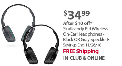 Skullcandy Riff Wireless On-Ear Headphones - Black OR Gray Speckle