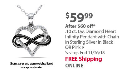 1/10 CT TW Diamond Heart Infinity Pendant with Chain in Sterling Silver with Black  or Pink
