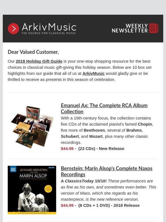 ArkivMusic: 2018 Holiday Gift Guide Highlights at ArkivMusic