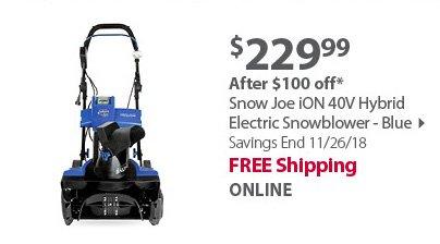 Snow Joe iON 40V Hybrid Electric Snowblower - Blue