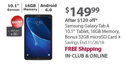 Samsung Galaxy Tab A 10.1 Tablet, 16GB Memory, Bonus 32GB microSD Card