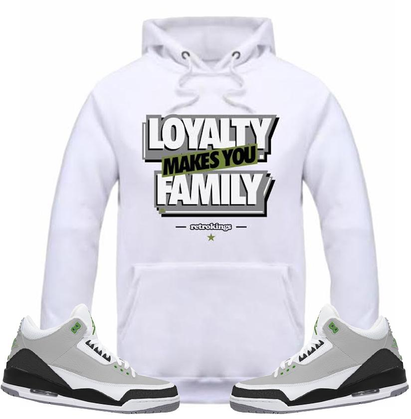 7d3d844d8b54c4 Jordan 3 chlorophyll loyalty white hoodie-Retro Kings