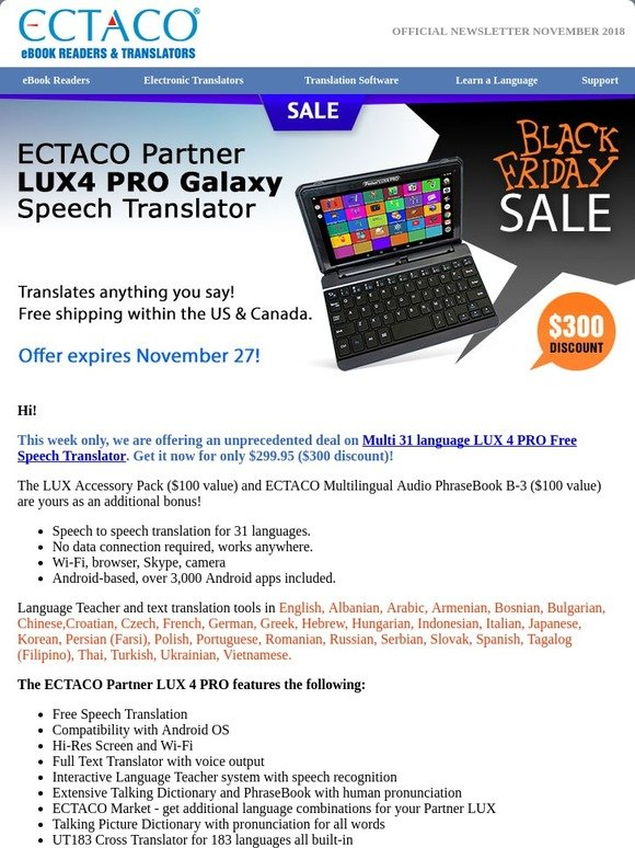 Ectaco UK: Starts Today! Black Friday Deals  USD300 OFF